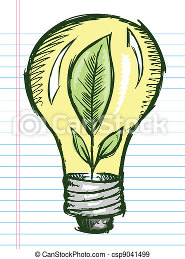 Doodle Sketch Light Bulb with Plant - csp9041499