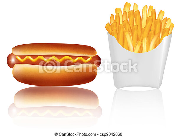 Hotdogr and french fries. Vector. - csp9042060