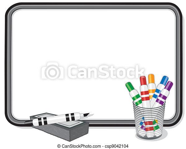 Whiteboard, Marker Pens, Eraser - csp9042104