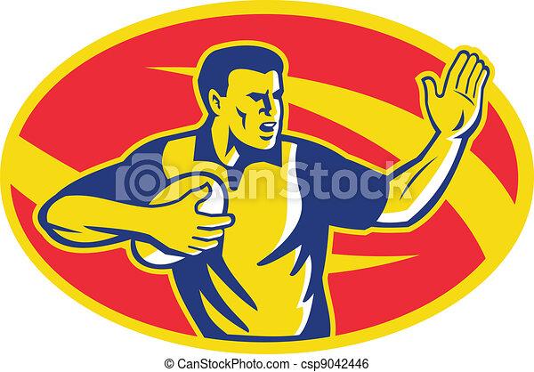 Rugby Player Running Fending Ball Retro - csp9042446