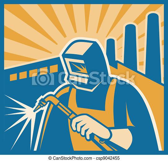 Welder Welding Factory Retro Woodcut - csp9042455