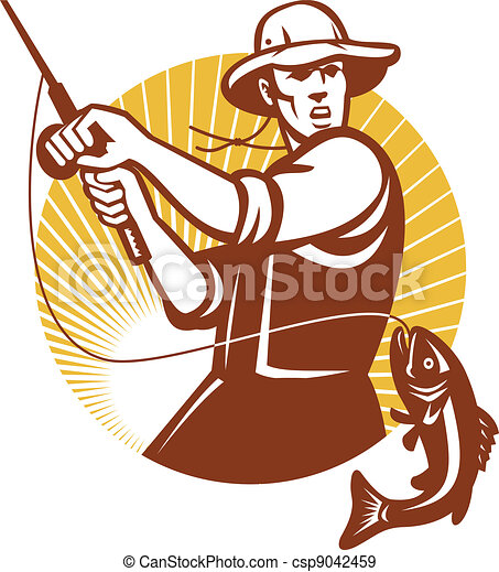 Fly Fisherman Fishing Retro Woodcut - csp9042459