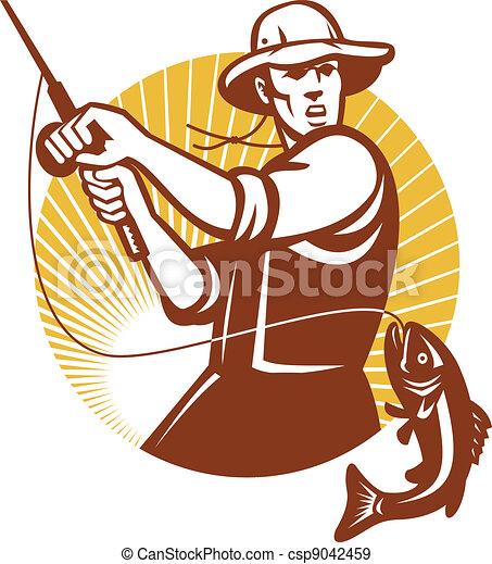 Fly Fisherman Fishing Retro Woodcut - csp9042459