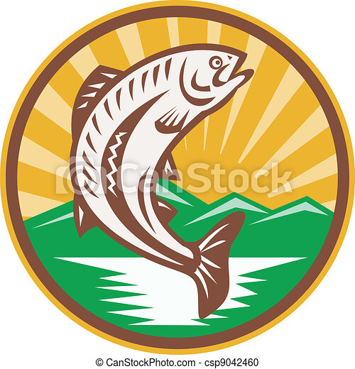 Trout Jumping Up Retro Woodcut - csp9042460