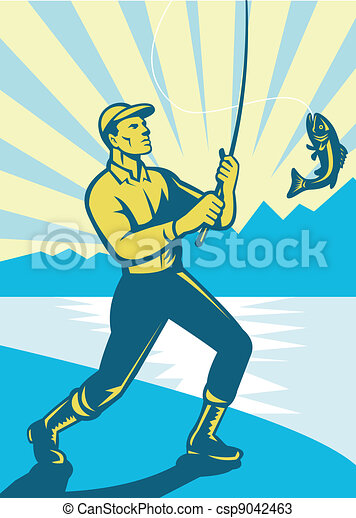 Fly Fisherman Fishing Retro Woodcut - csp9042463