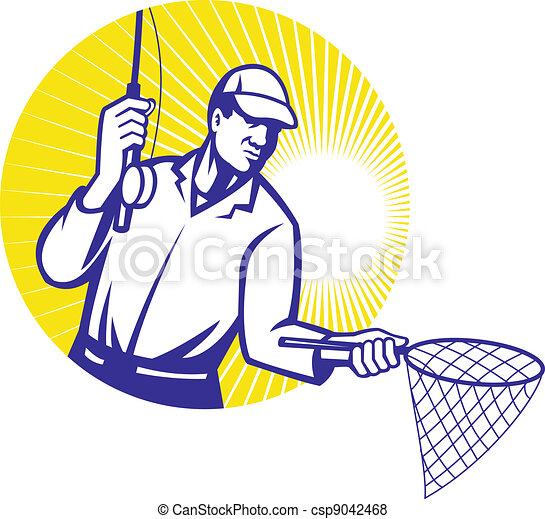 Fly Fisherman Fishing Retro Woodcut - csp9042468