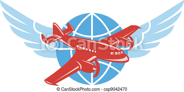 Propeller Airplane Wings Globe Retro - csp9042470