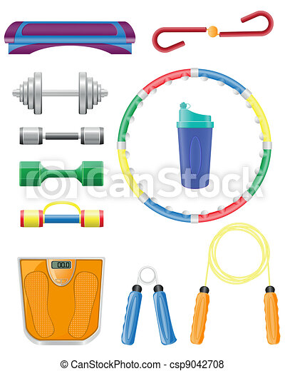 fitness icons set vector - csp9042708