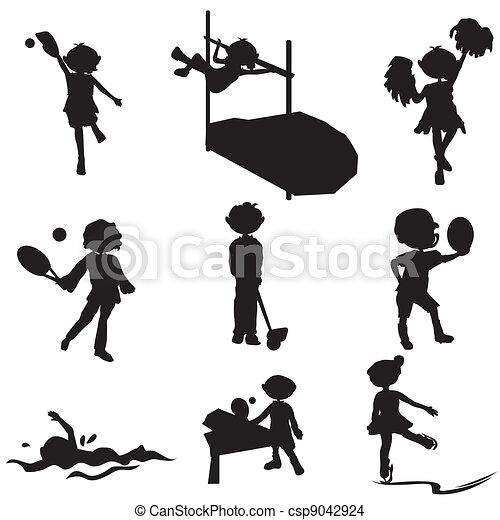 Eps Vector Van Silhouettes Sportende Spotprent Kinderen