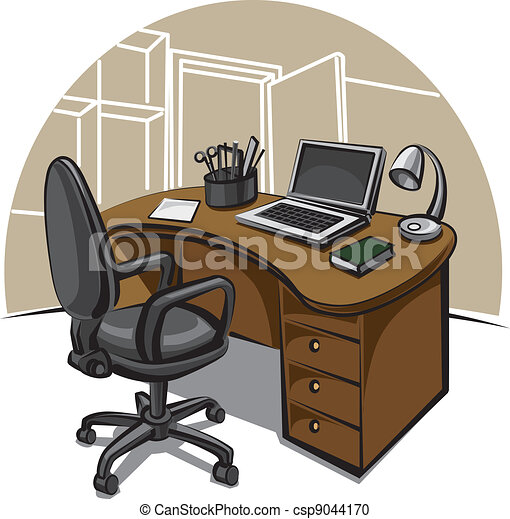 Clipart vecteur de travail endroit bureau bureau for Bureau plan de travail