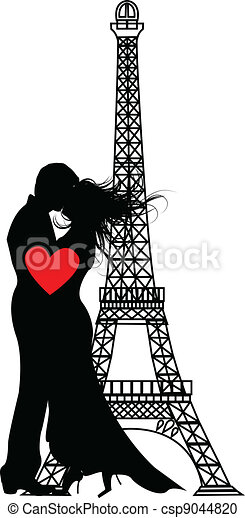 the vector romance paris Silhouette - csp9044820