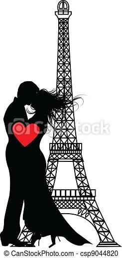 the vector romance paris Silhouette - csp9044820