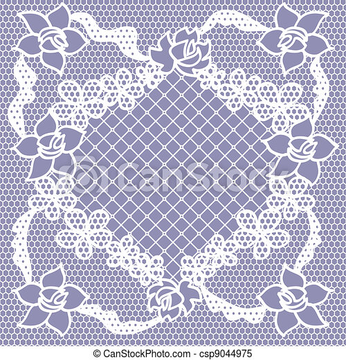 Lace seamless pattern with flowers - csp9044975
