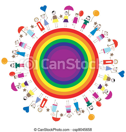 Happy kids on a rainbow circle - csp9045658