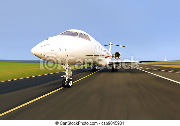 Private Jet Plane with Motion Blur - csp9045901