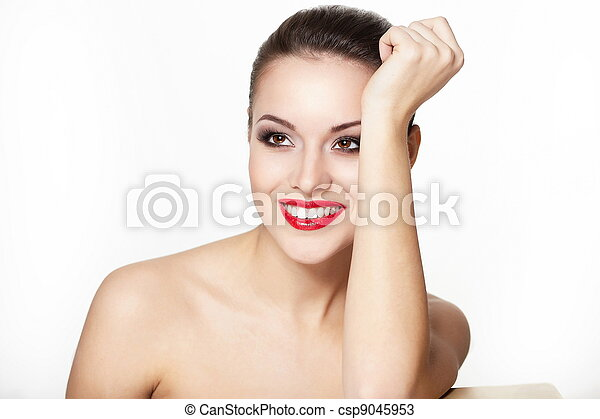 closeup portrait of sexy smiling caucasian young woman model with glamour red lips,bright makeup, eye arrow makeup, purity complexion. Perfect clean skin.white teeth - csp9045953