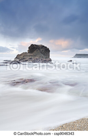 Cornwall Twilight Seascape, Polzeath, UK. - csp9046343