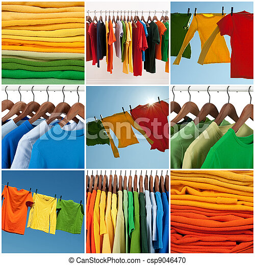Variety of multicolored casual clothing - csp9046470