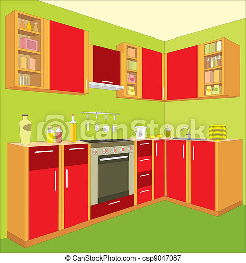 Kitchen furniture. Interior. - csp9047087