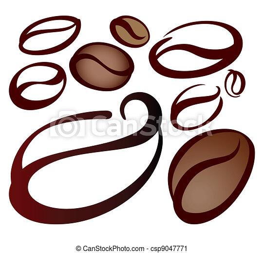 Coffee Bean Drawing Coffee Beans Set of Coffee