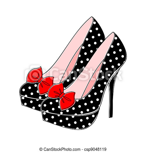 Polka Dot High Heels - csp9048119
