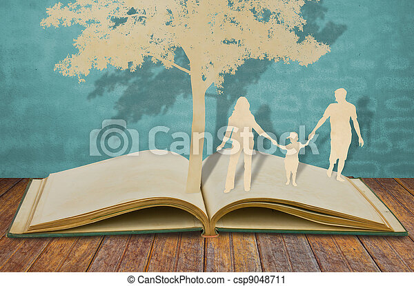 Stock Photography of Paper cut of family symbol under tree on old