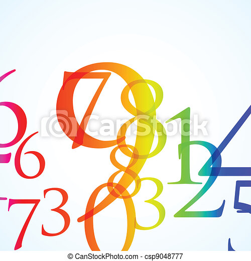 the abstract color number background - csp9048777