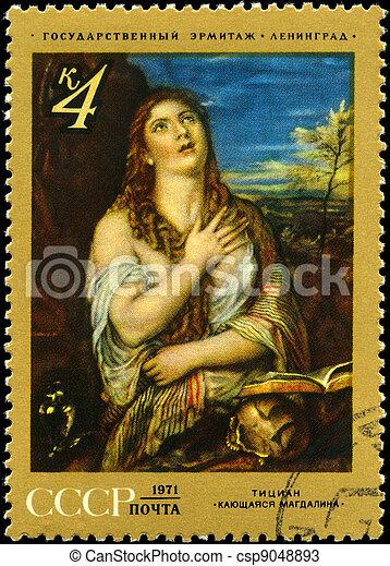 USSR - CIRCA 1971 Mary Magdalene - csp9048893