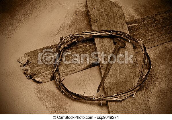 Jesus Christ cross, nail and crown of thorns - csp9049274