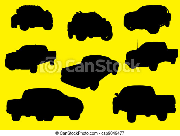 Pick-up trucks silhouettes isolated on yellow background. - csp9049477