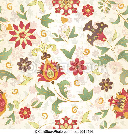 retro flower seamless - csp9049486