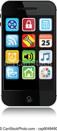 Modern Style Cell Phone - Vector - csp9049490