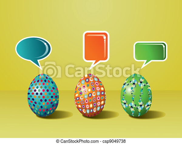 Social media painted Easter interaction - csp9049738