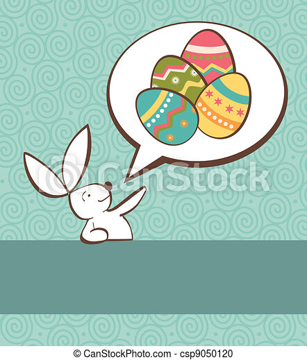 Social Easter bunny with painted egg - csp9050120