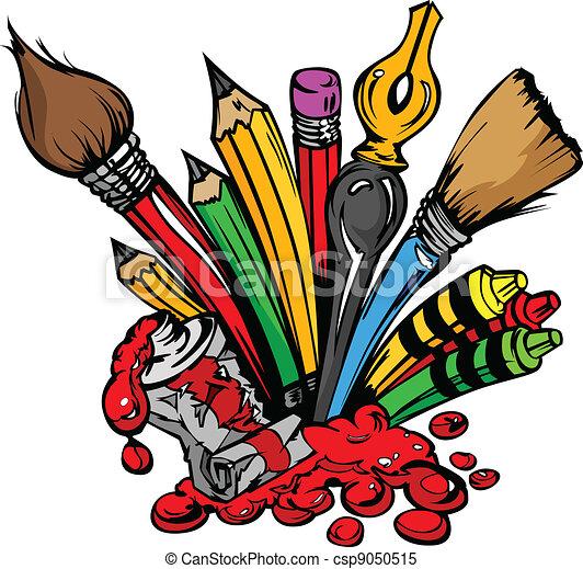 Art Supplies Vector Cartoon - csp9050515