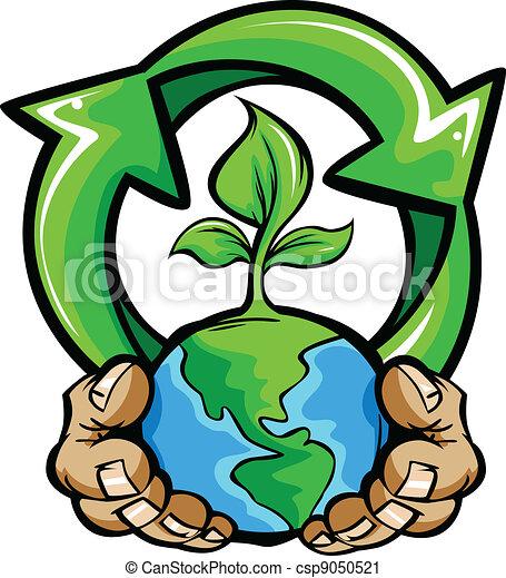 planeta, terra, segurando, mãos - csp9050521