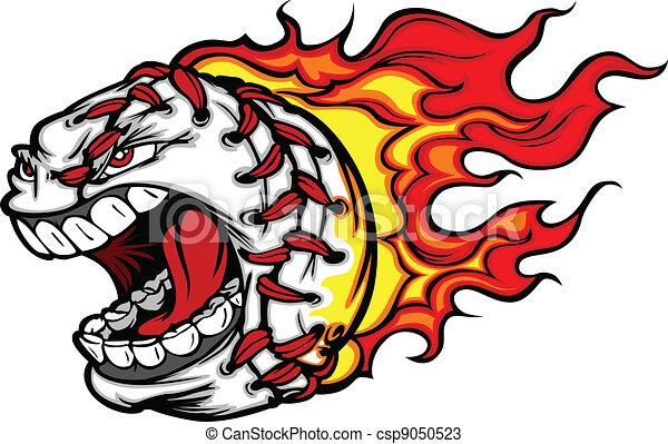 Flaming Baseball or Softball Scream - csp9050523