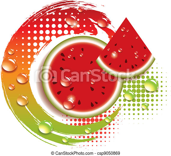 vector abstract background with fresh watermelon - csp9050869