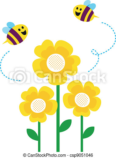 Cute little bees flying around flowers - csp9051046