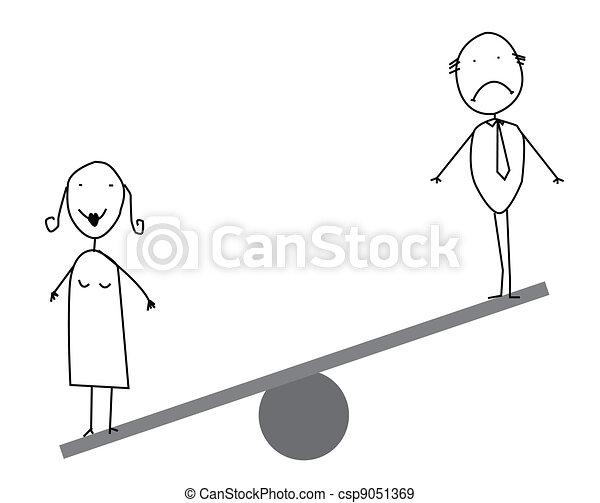 Businessman   businesswoman balance - csp9051369