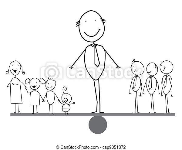 Businessman balances between family - csp9051372