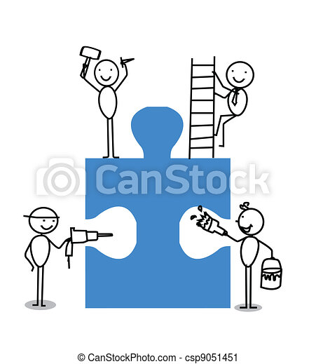 Businessman Teamwork Jigsaw - csp9051451