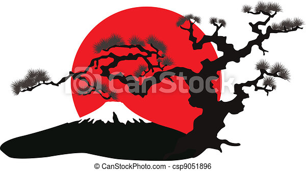 the Japanese landscape silhouette vector - csp9051896