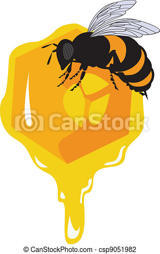 the vector bees and honeycomb with honey - csp9051982