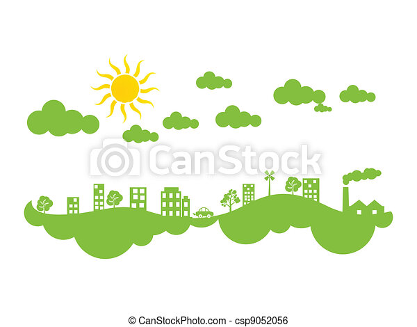 abstract green eco city climate - csp9052056