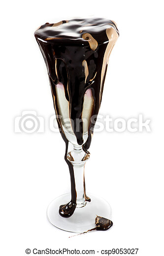 Icecream in a wine glass with massive amounts of chocolate topping - csp9053027