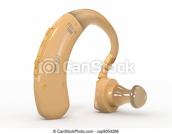 Hearing aid on white background. 3d - csp9054266