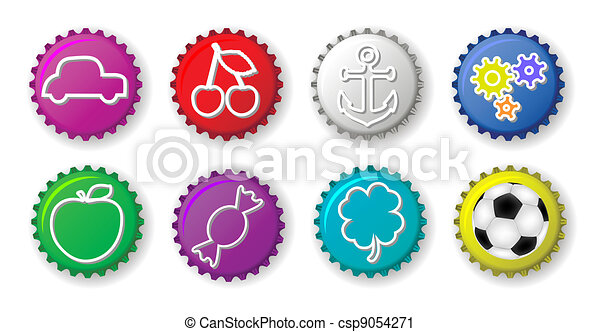 Color bottle caps with figures - csp9054271