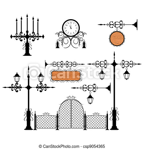 Wrought iron vector set - csp9054365
