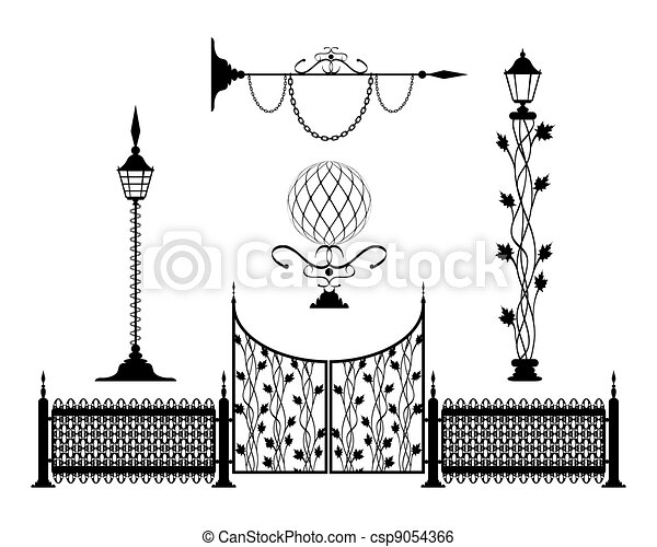 Wrought iron vintage signs and decor elements - csp9054366